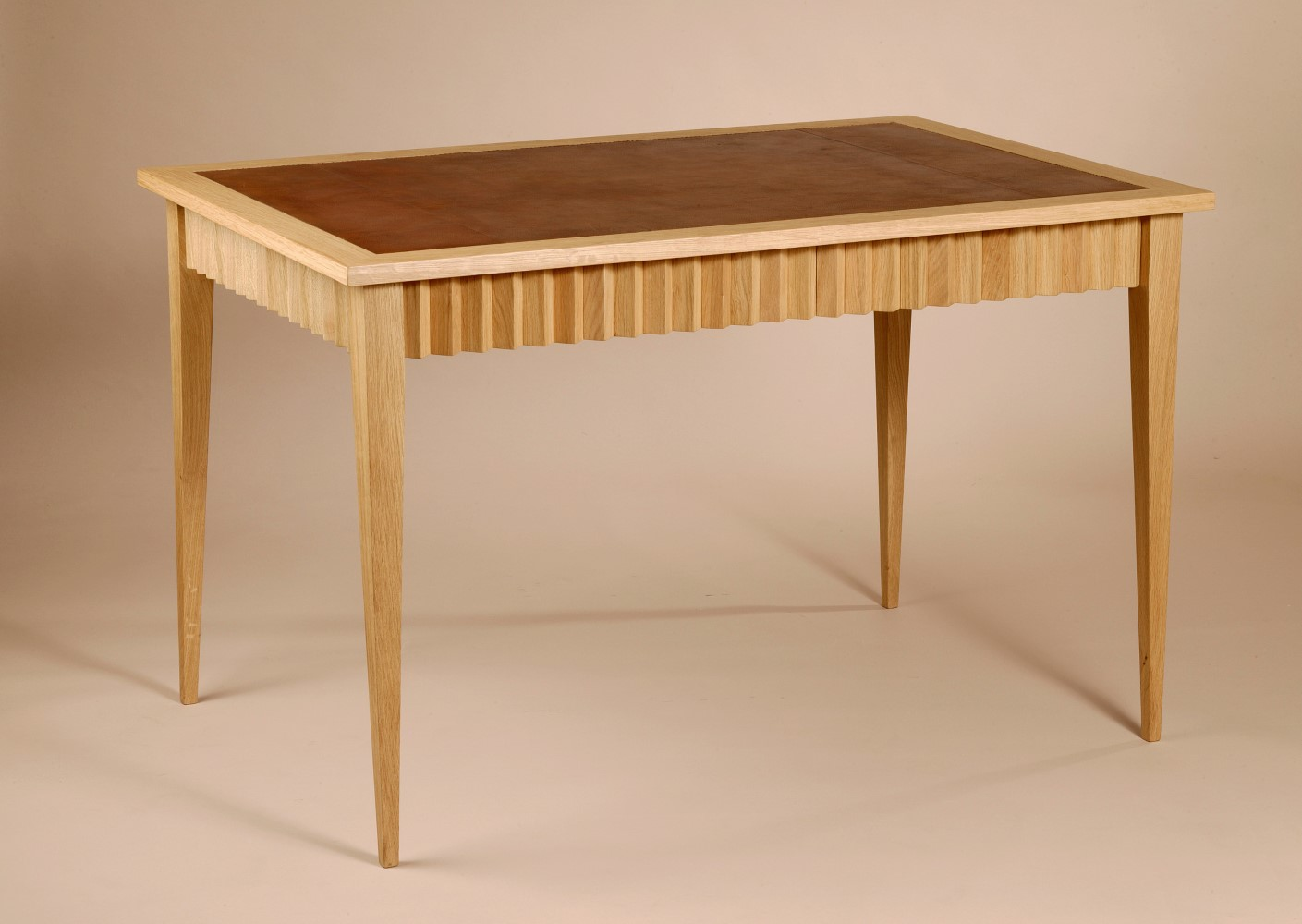 corinthe desk solid oak wood and stretched leather